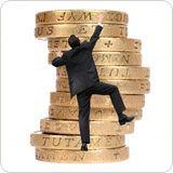 Climbing a pile of pound coins