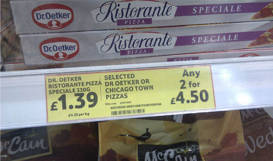 Tesco Dr Oetker pizza, costs �1.39 or two for �4.50